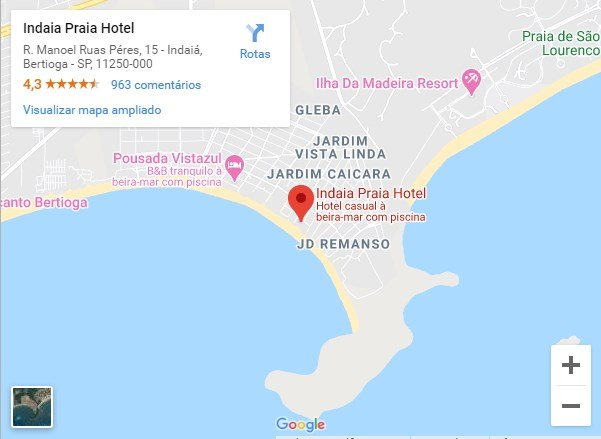 indaia praia hotel mapa